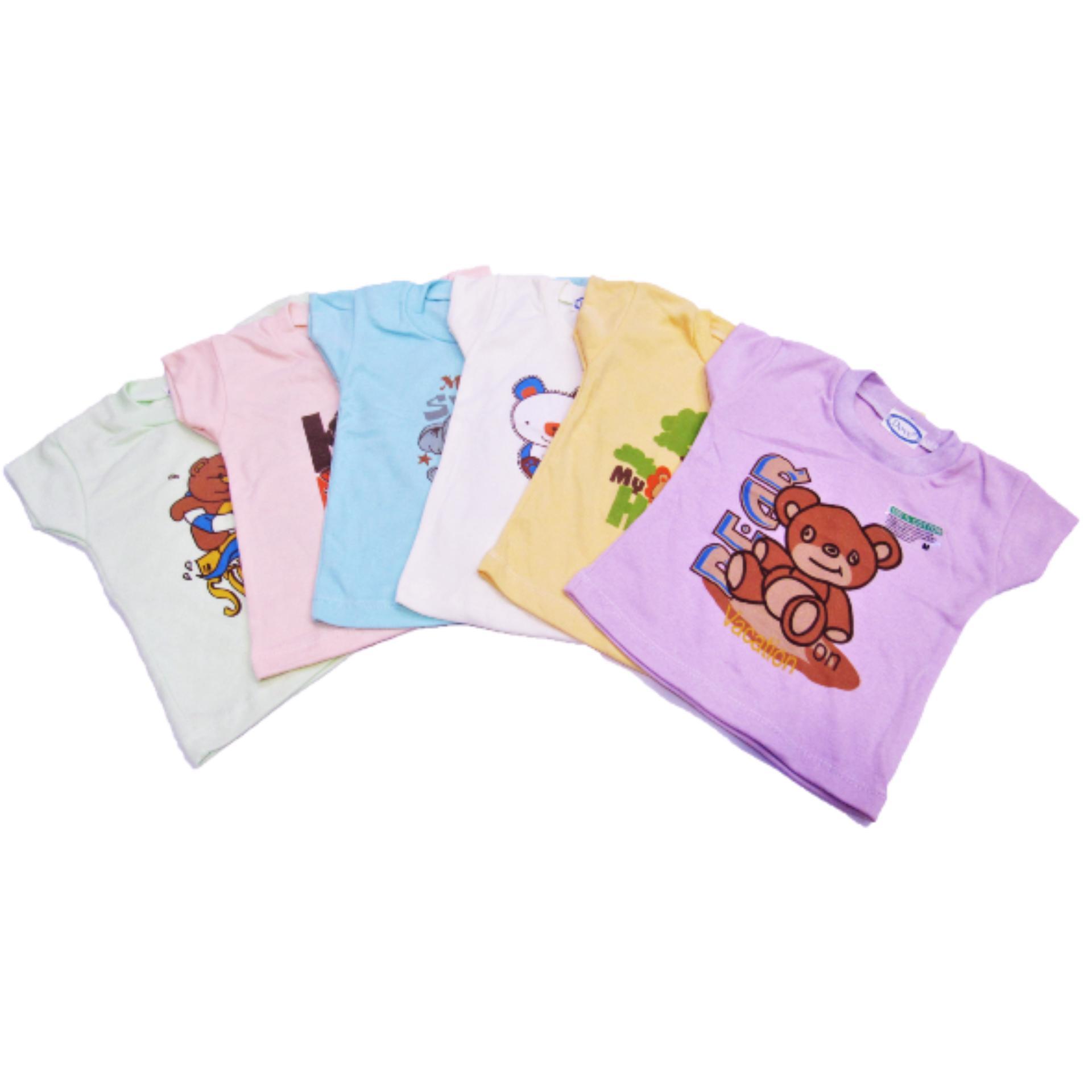 Wulanda 6 pcs baju bayi kaos oblong anak dove motif gambar multiwarna