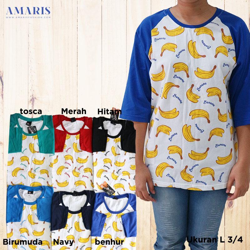 DISKON Kaos Banana Lengan 3/4 Motif 002 Unisex - Amaris