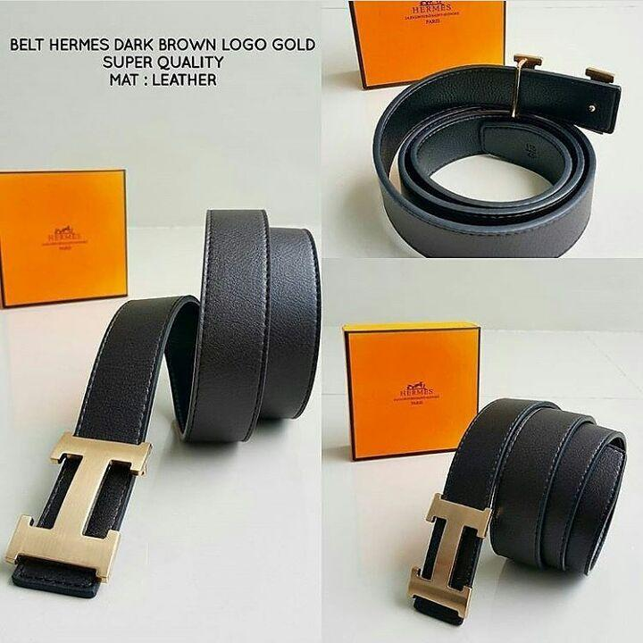 ikat pinggang Hermes Dark Brown Logo Gold