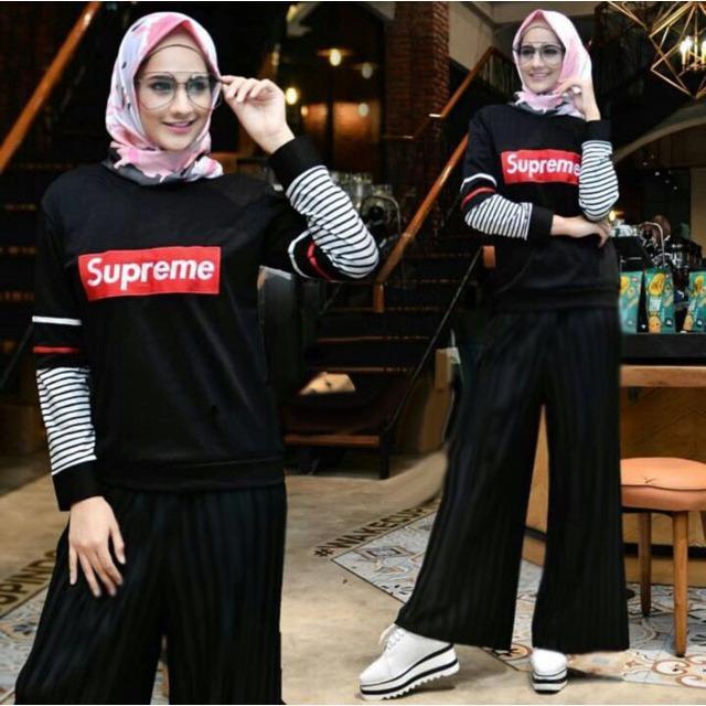 Damai fashion - setelan hijab wanita Halimah salur - baju murah konveksi tanah abang 2warna