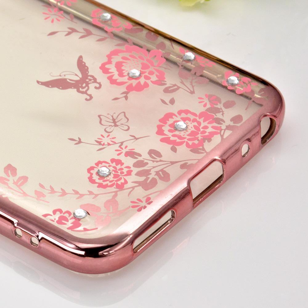 ... 1 Pc/lot Soft TPU Flower Diamond Lace Gold Plating Secret Garden Case for BBK
