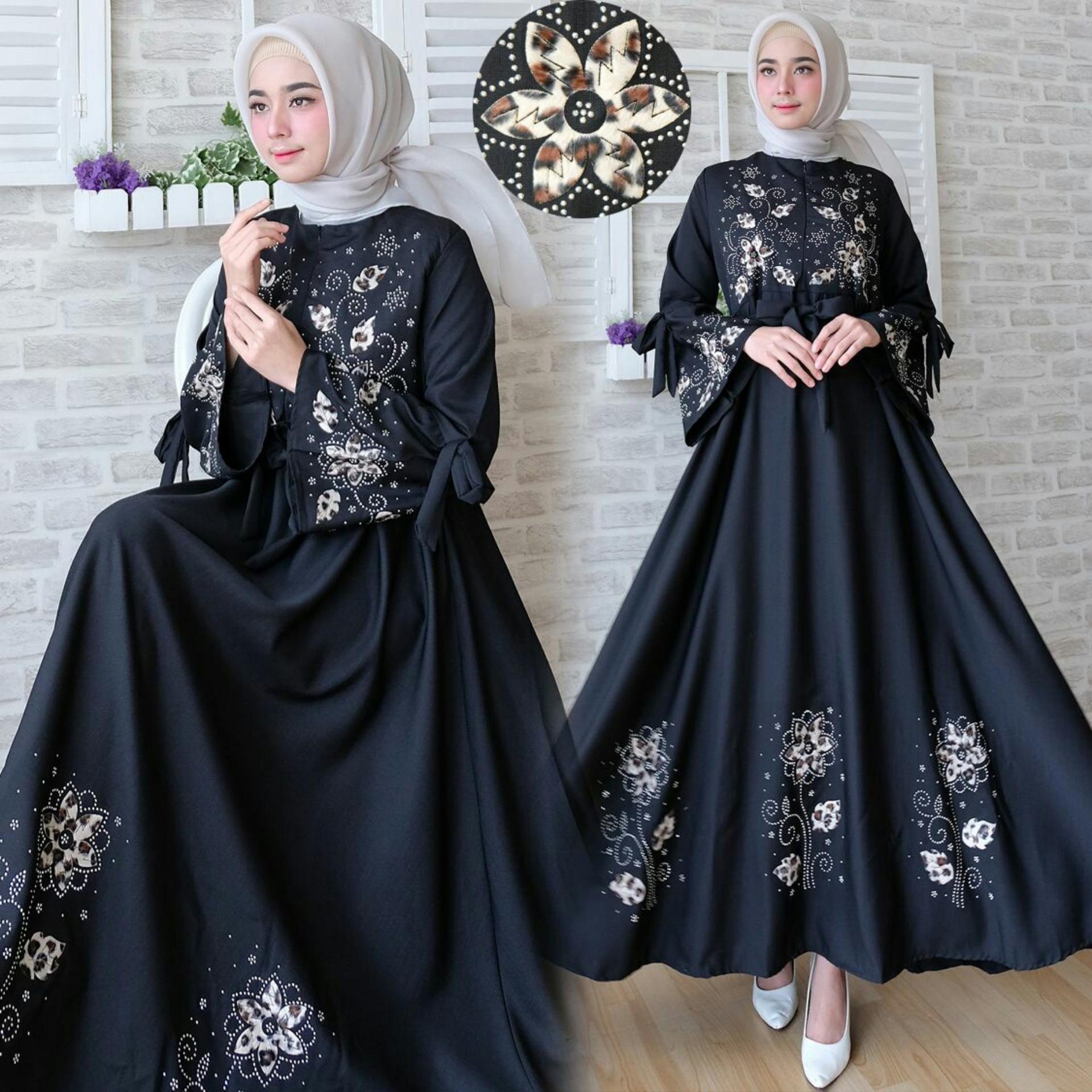 Snowshop Gamis Syari Flower - Black