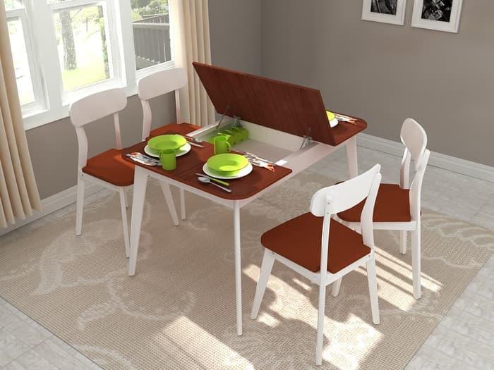 FUNKIDS Meja Makan SIGNA-Lexxy, Multifungsi kayu Mahoni & 4 Kursi Makan