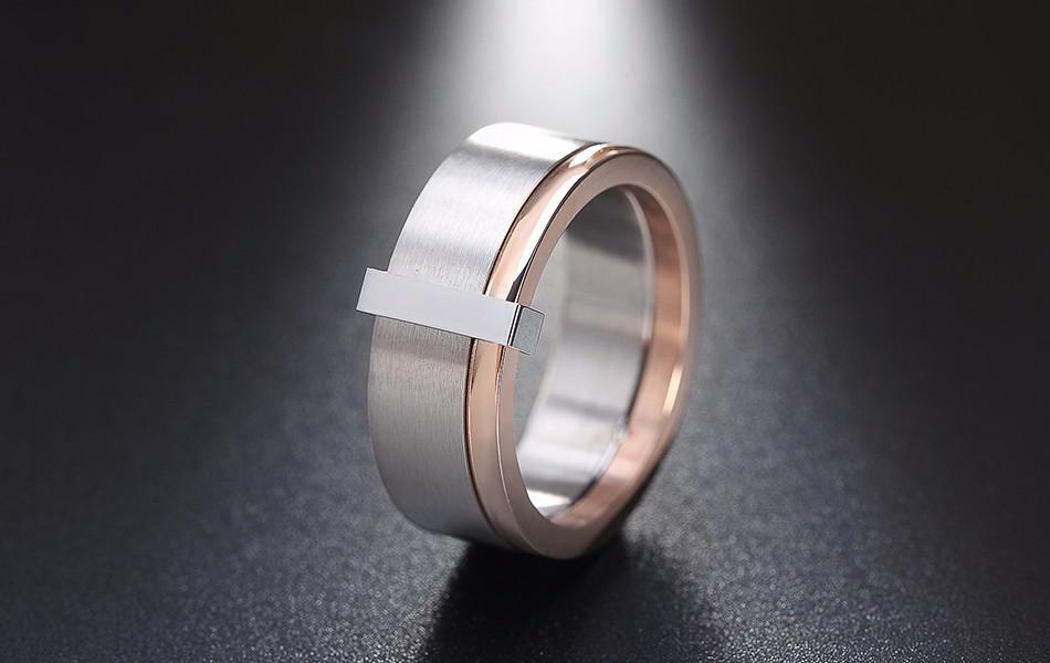 Cincin Titanium Stainless Steel Polos Emas Rose Gold Pria Wanita