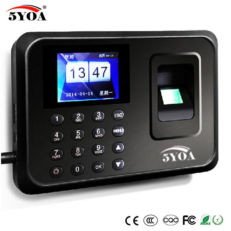 5YOA Biometric Attendance System USB Fingerprint Reader Time Clock Employee Control Machine Electronic Portuguese Voice English