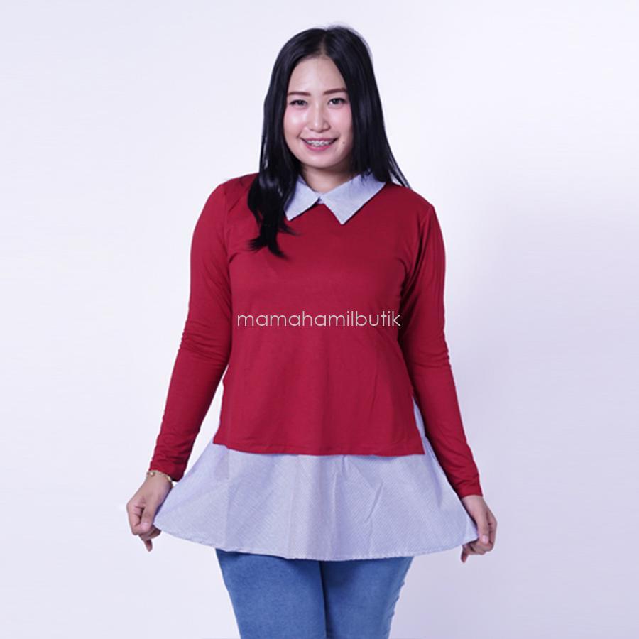Ning Ayu Baju Hamil Menyusui Kerja Katun Salur Korea Style - SJ 363 / Baju Menyusui Lengan Panjang / Baju Atasan Menyusui / Baju Menyusui Muslimah / Baju Muslim Wanita untuk Ibu Menyusui/ Baju Hamil Untuk Kerja / Baju Hamil Untuk Kerja Modis