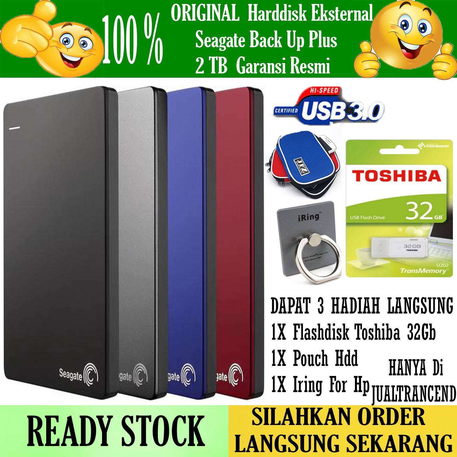 Seagate Backup Plus Slim 2TB - HDD - HD - Hardisk External 2.5 + GRATIS Flashdisk 32Gb Toshiba + Iring Stand Hp + Pouch Harddisk