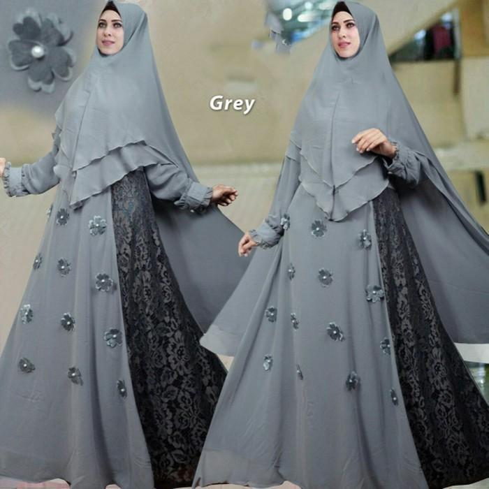 (JNH Shop)  Busana Muslim Syari Violet Abu Gamis Baju Pesta Mewah Xl Murah Grey TM