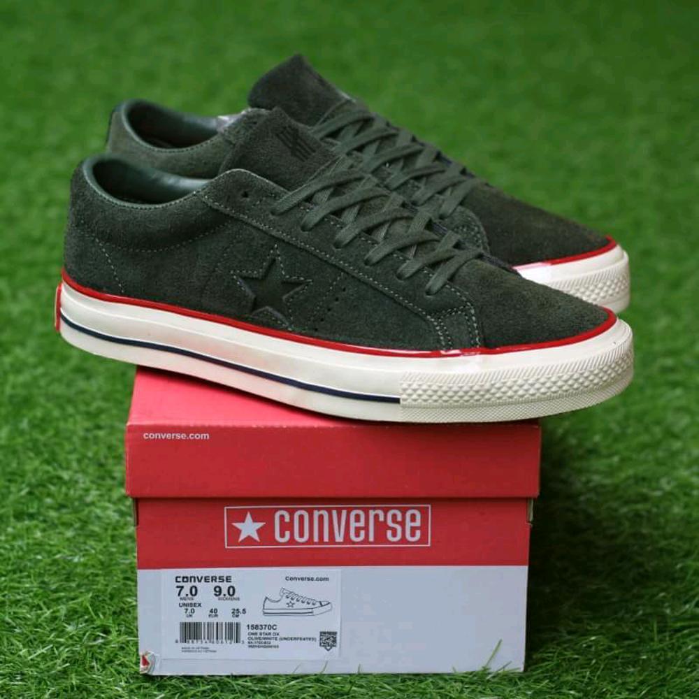 Promo Sepatu Converse one star ox suede olive undefeated sneaker casual pria Diskon