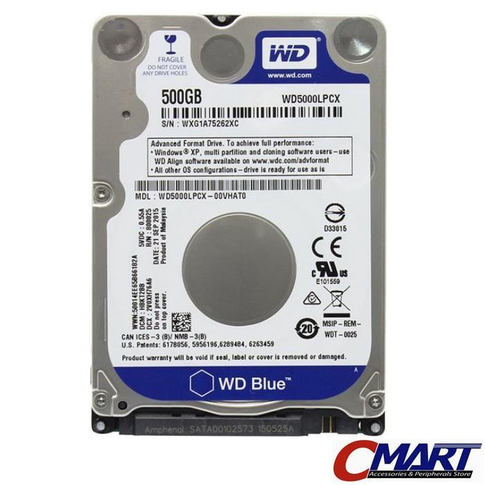 ORIGINAL - WD ScorpioBlue 500GB SATA3/5400/8MB 2.5