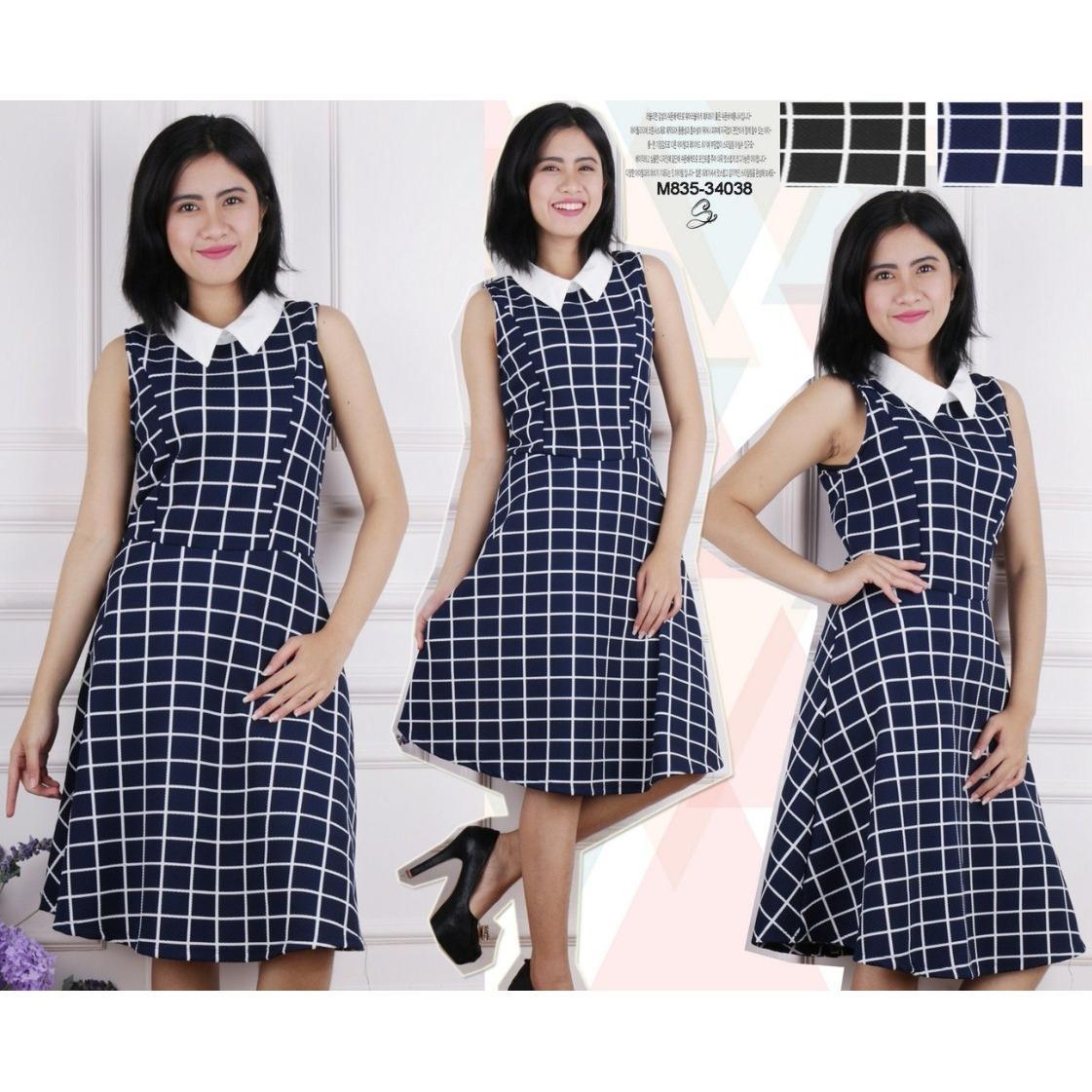 Oma Holley Fashion Barika Mini Dress Polo Neck Motif Kotak - Size M