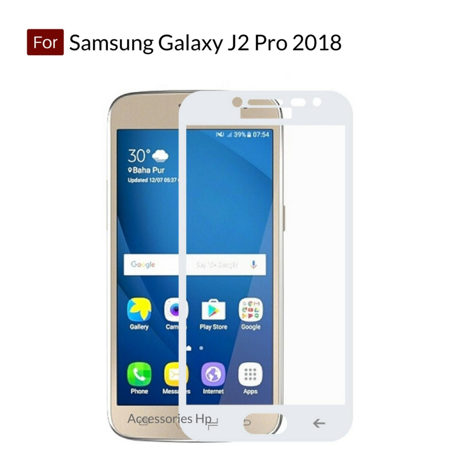 Accessories Hp Full Cover Tempered Glass Warna Screen Protector for Samsung Galaxy J2 Pro 2018 - White