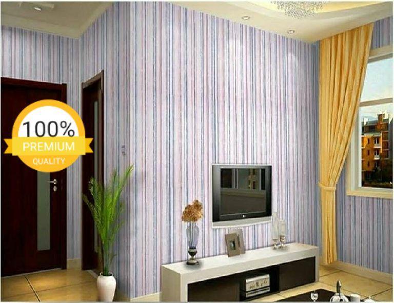 Wallpaper dinding murah ruang tamu rumah kamar tidur garis cream coklat biru merah terbagus termurah terlaris elegan minimalis cantik indah