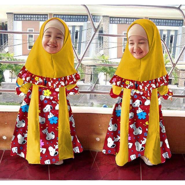 Vshop91jkt - Gamis Anak Marsha Snopy Baju Syari Bergo Anak Dress Anak  Gamis Kids Syari Kids Baju muslim Pakaian Muslim Anak Dress Muslim Anak Pakaian Anak Bergo Maxi Dress Pashmina Mukena Ciput Tunik Wanita Dress Snopy Dress Doraemon Baju koko