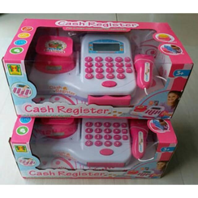 Mainan Anak Cash Register Pink Mesin Kasir Timbangan Mini Supermarket