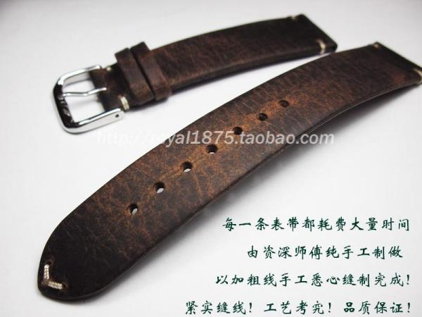 Handmade Thin Vintage Leisure 18mm19mm20mm21mm22mm Horse Leather Watch Strap Genuine Leather Cow Leather Watch Strap Malaysia
