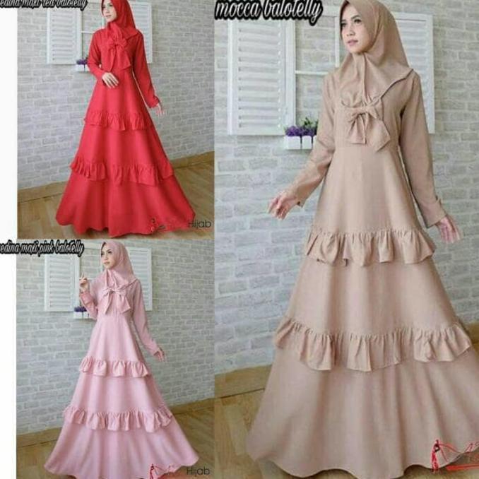 Baju Muslim Wanita Gaya Baru / Gamis Murah / Dress Hijab : Medina Maxy  Ghtsyh
