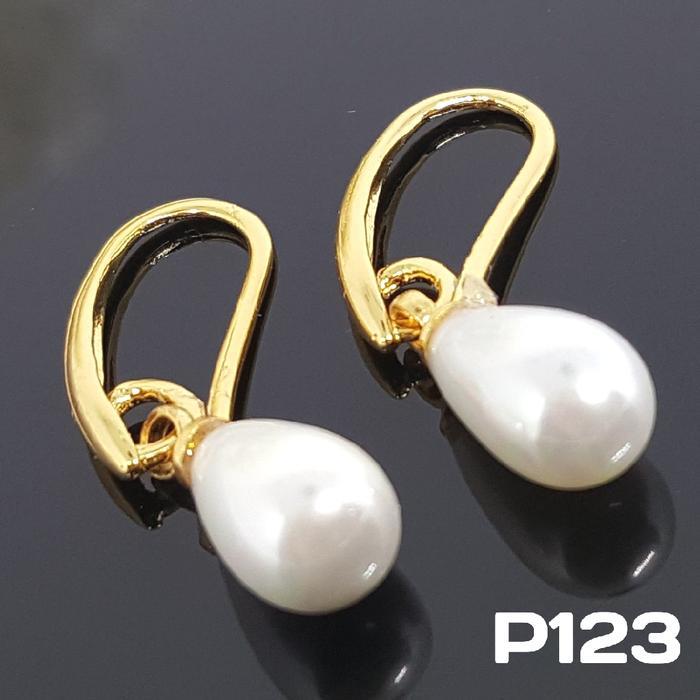 P123 Anting Desi Mutiara Panjang (Perhiasan Imitasi Xuping Lapis Emas)