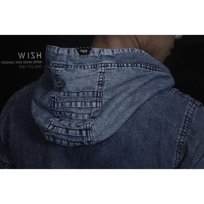 Wish Denim Zipper-Hoodie Bio Wash-Baju Jeans Keren-Levis Scrap - Asgfgh