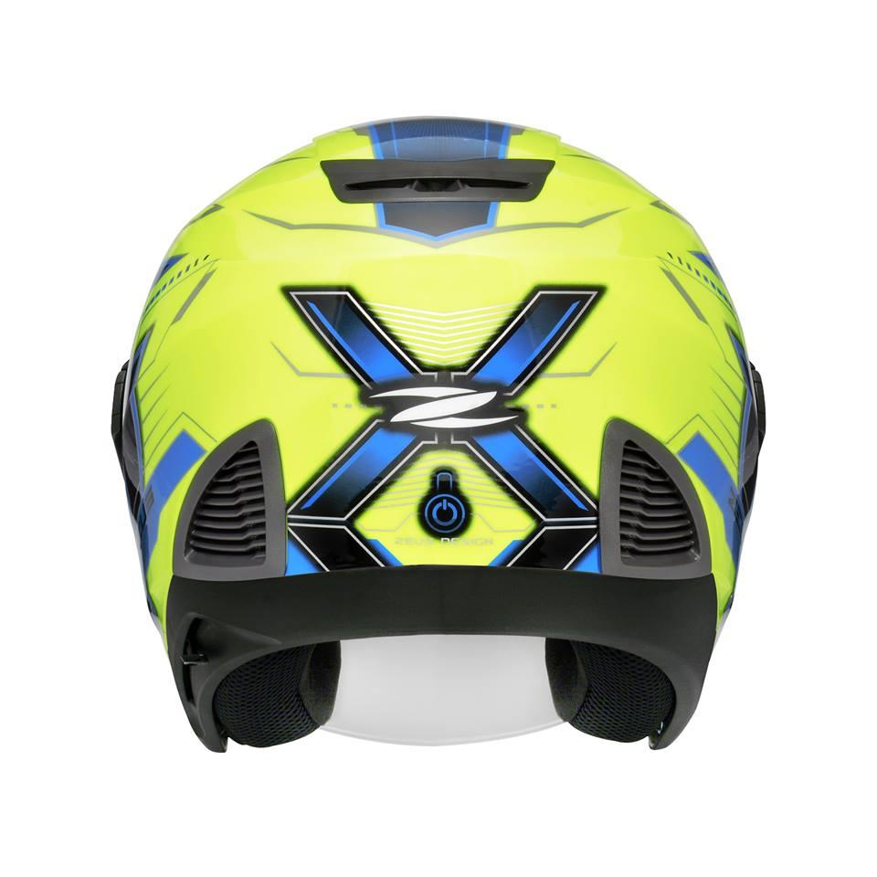 ... Zeus ZS-611 Motif TT18 ZYEL#809 Helm Half Face - Yellow Blue ...