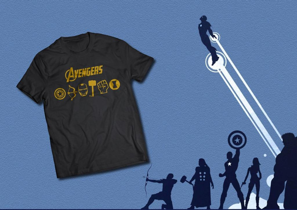 Nuraenis - Kaos T-Shirt Marvel Avengers Cotton Combed 30's / Iron Man / Thor / Hulk / Captain America / Spiderman / Black Widow / Black Panther Tanpa Jahitan Samping