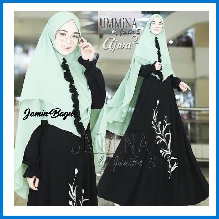Best Seller Ummina ajwa syari Termurah Bahan Berkualitas Ukuran Free Size fit to L Elegan Untuk Pesta