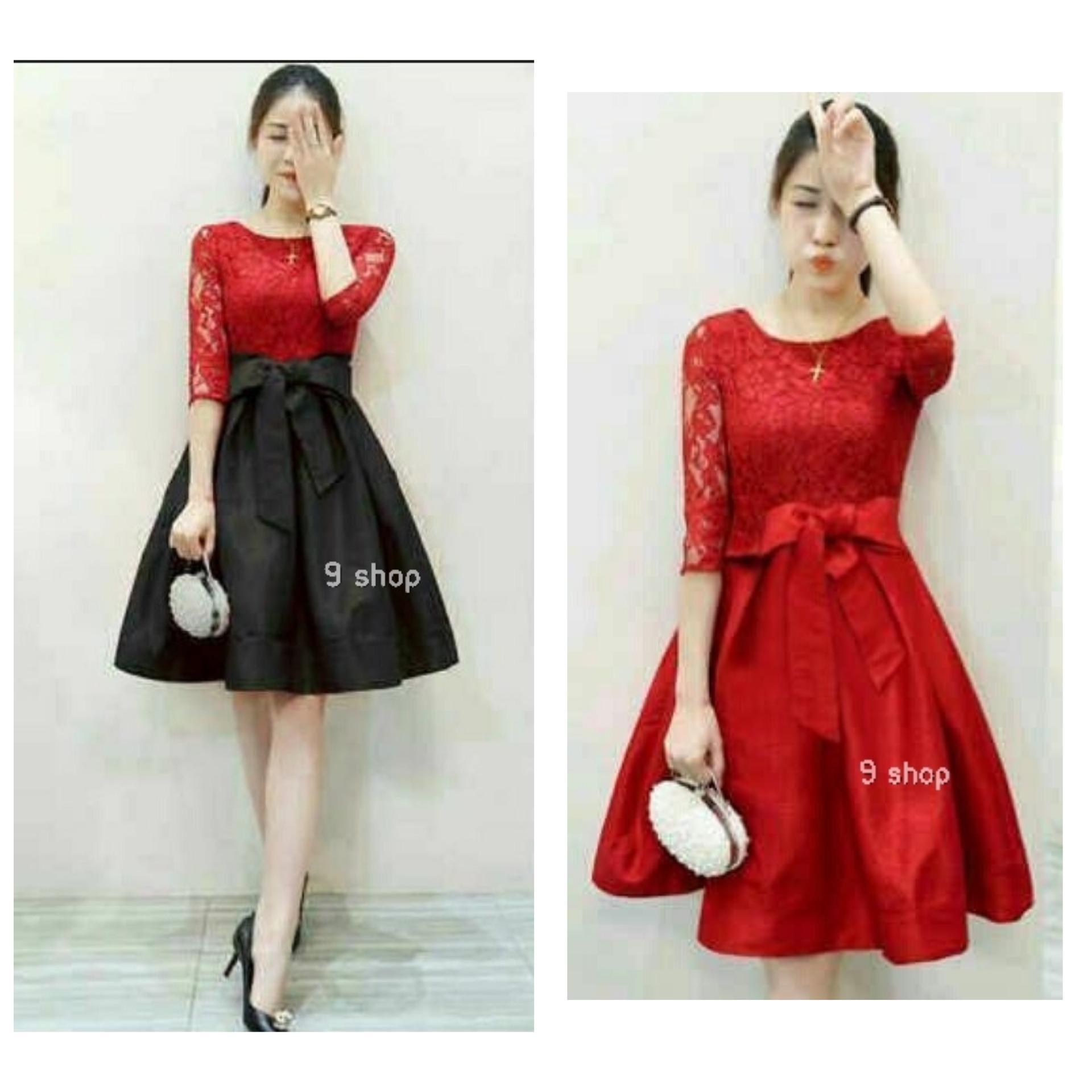 9 Shop Dress Brukat Wanita MERLI / Dress Korea / Dress Renda / Lace Dress / Gaun Pesta / Gaun Midi / Gaun Murah / Gaun Murah / Dress Cewek / Gaun Remaja