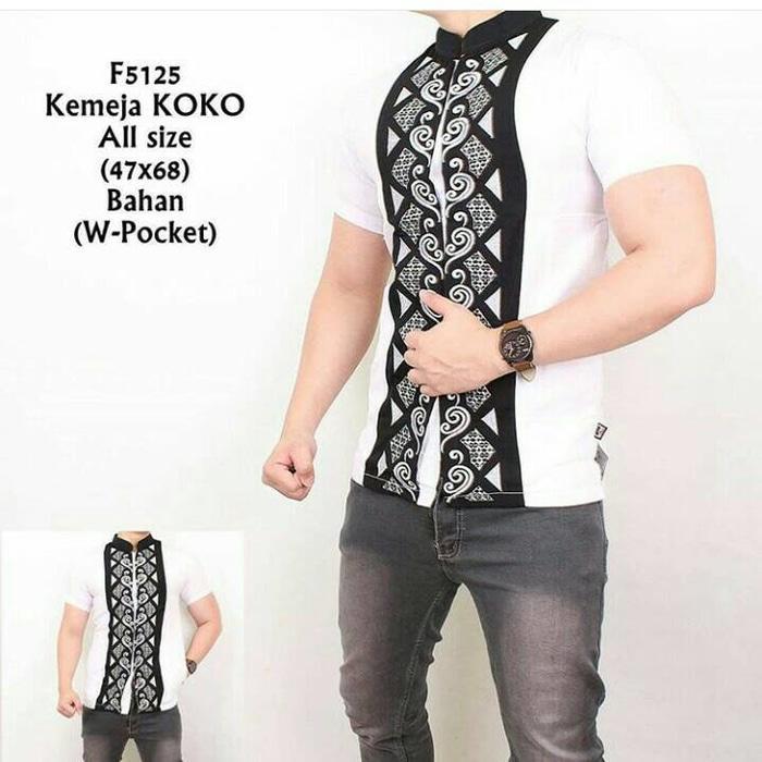Kemeja Koko Pria Putih Kombinasi batik lengan pendek