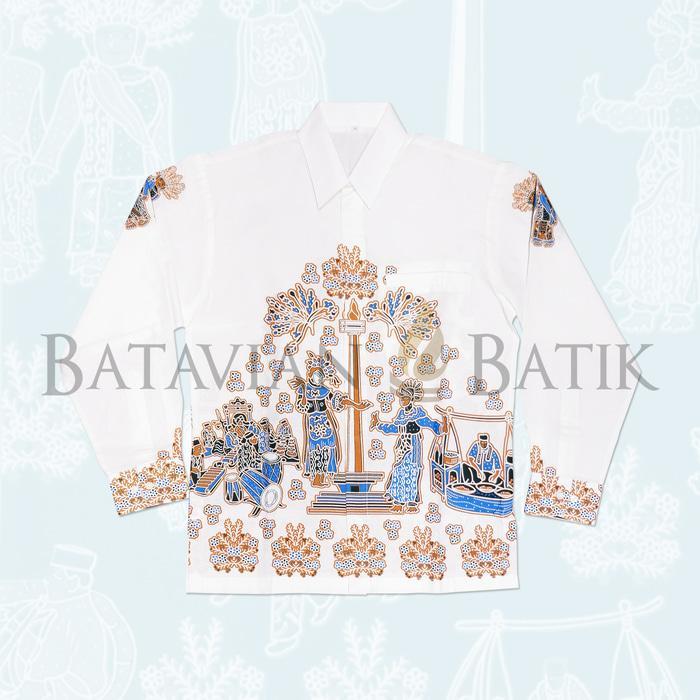 Promo Terpopuler Kemeja Batik Betawi Lengan Panjang   Putih