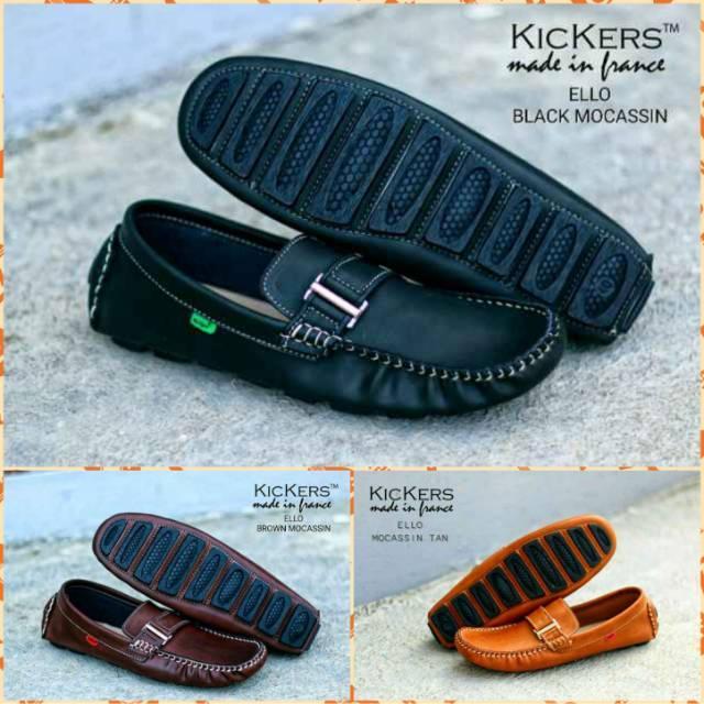 Sepatu Kickers Mokasin Ello Kasual Pria Slip On Formal Loafers Slop Kulit Asli Sneakers Pantopel