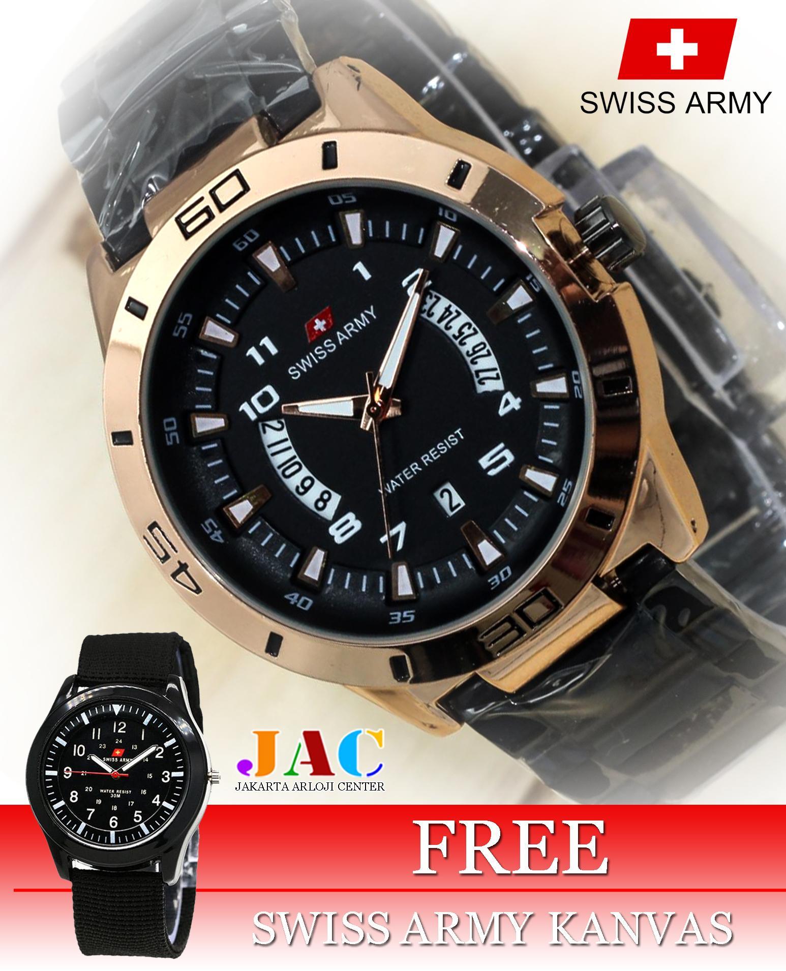 Jam Tangan Swiss Army Pria - Original - Stainless Steel - Tanggal Dan Hari Aktif - Formal Design - Bonus Jam Tangan Kanvas