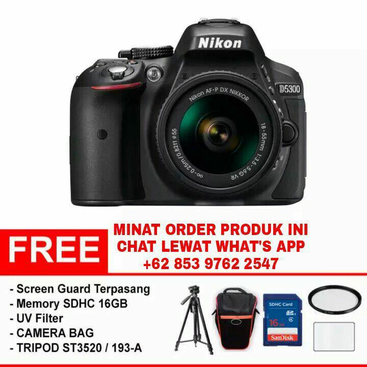 NIKON D5300 + AF-P DX NIKKOR 18-55mm f/3.5-5.6G VR (Paket Super Lengkap) - Hitam - Original
