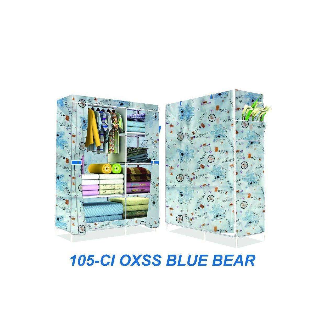 (3KG) 105NTOX LEMARI PAKAIAN 3 SISI BUKA ATAS 105X45X170CM KAIN OXFORD MERK SHENAR