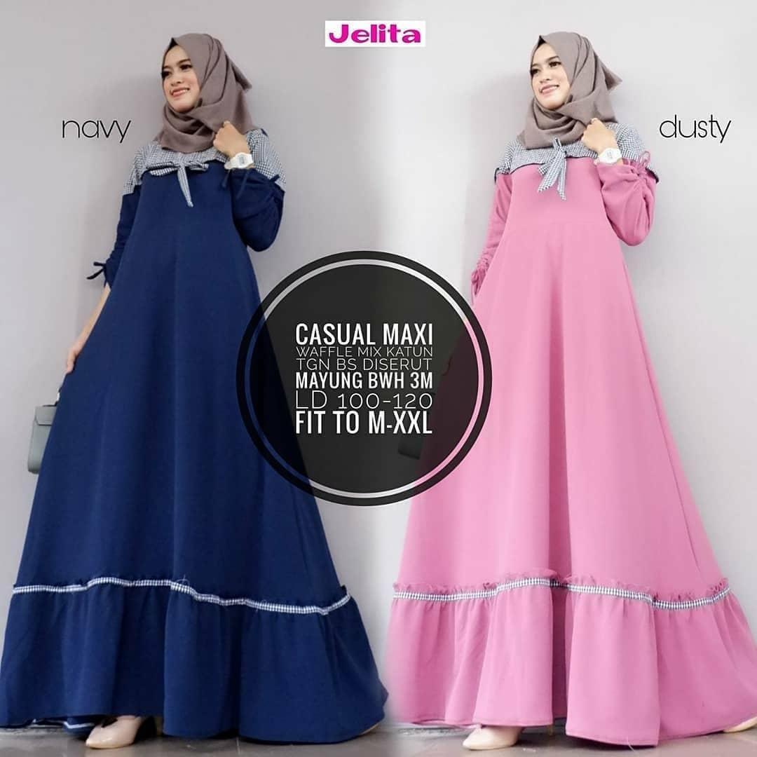 Baju Original Gamis Casual Maxi Dress Baju Panjang Muslim Casual Wanita Pakaian Hijab Modern Modis Trendy Terbaru
