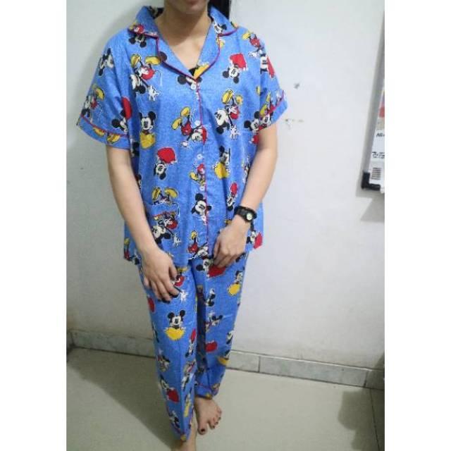 RX Fashion Piyama Pajamas CP Mickey Mouse Love Bahan Katun Jepang Fit L 1R