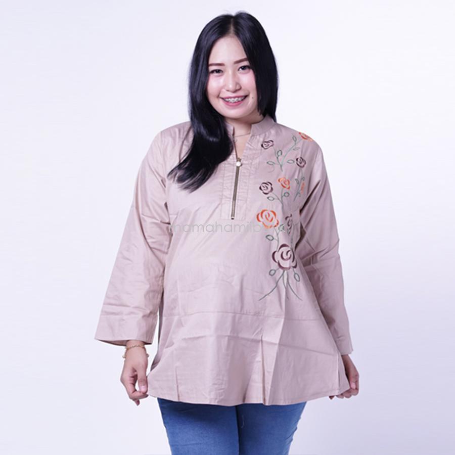 Ning Ayu Baju Atasan Hamil Resleting Bordir Rose Cantik - BLJ 433 / Baju Hamil untuk kerja Lengan Panjang / Baju Hamil Seksi / Baju Hamil Gamis / Baju Menyusui Modis / Baju menyusui Murah / Baju Menyusui Terbaru / Baju Menyusui Keren