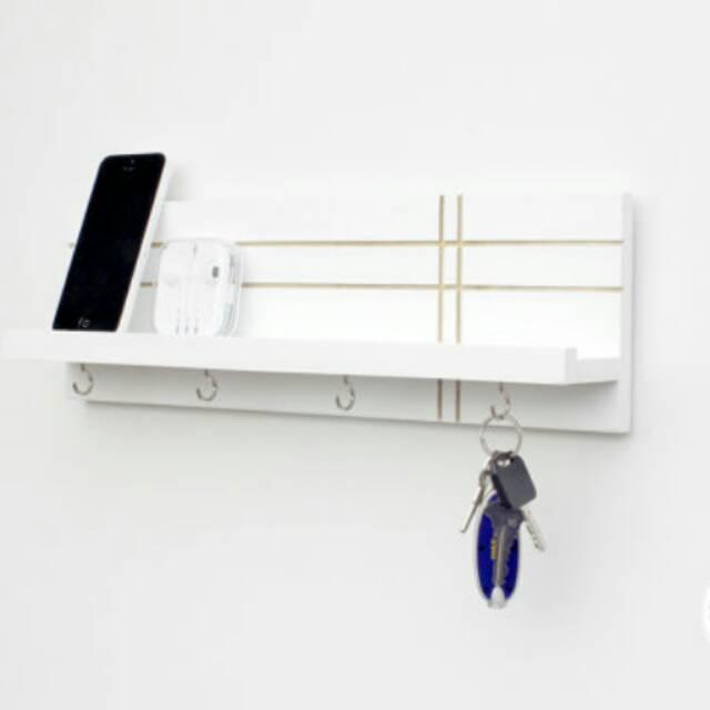 Rak Modern Dengan Kait Kunci - Tempat Penyimpanan Dinding- Rak Perhiasan- Parkiran