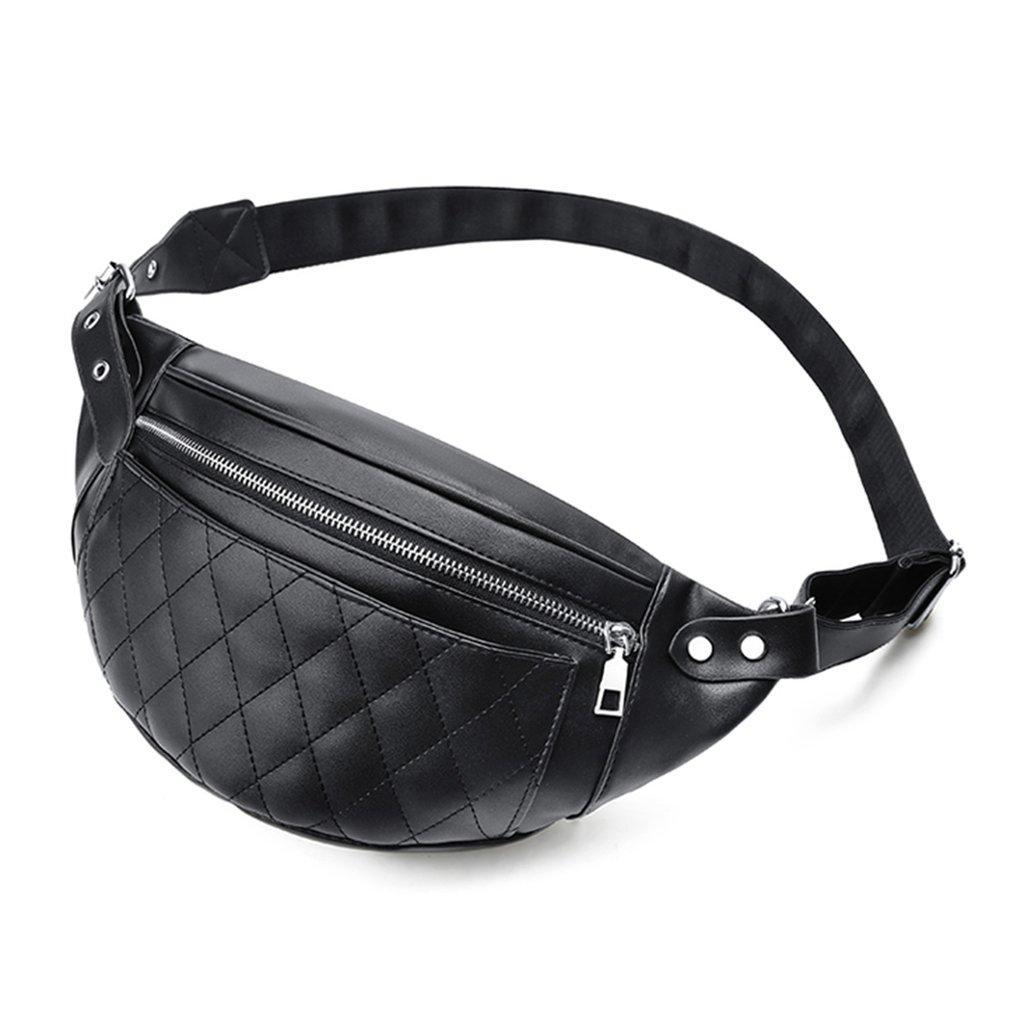 Kisi garis pinggang tas Zipper dada Pack tas Crossbody bahu tas kulit