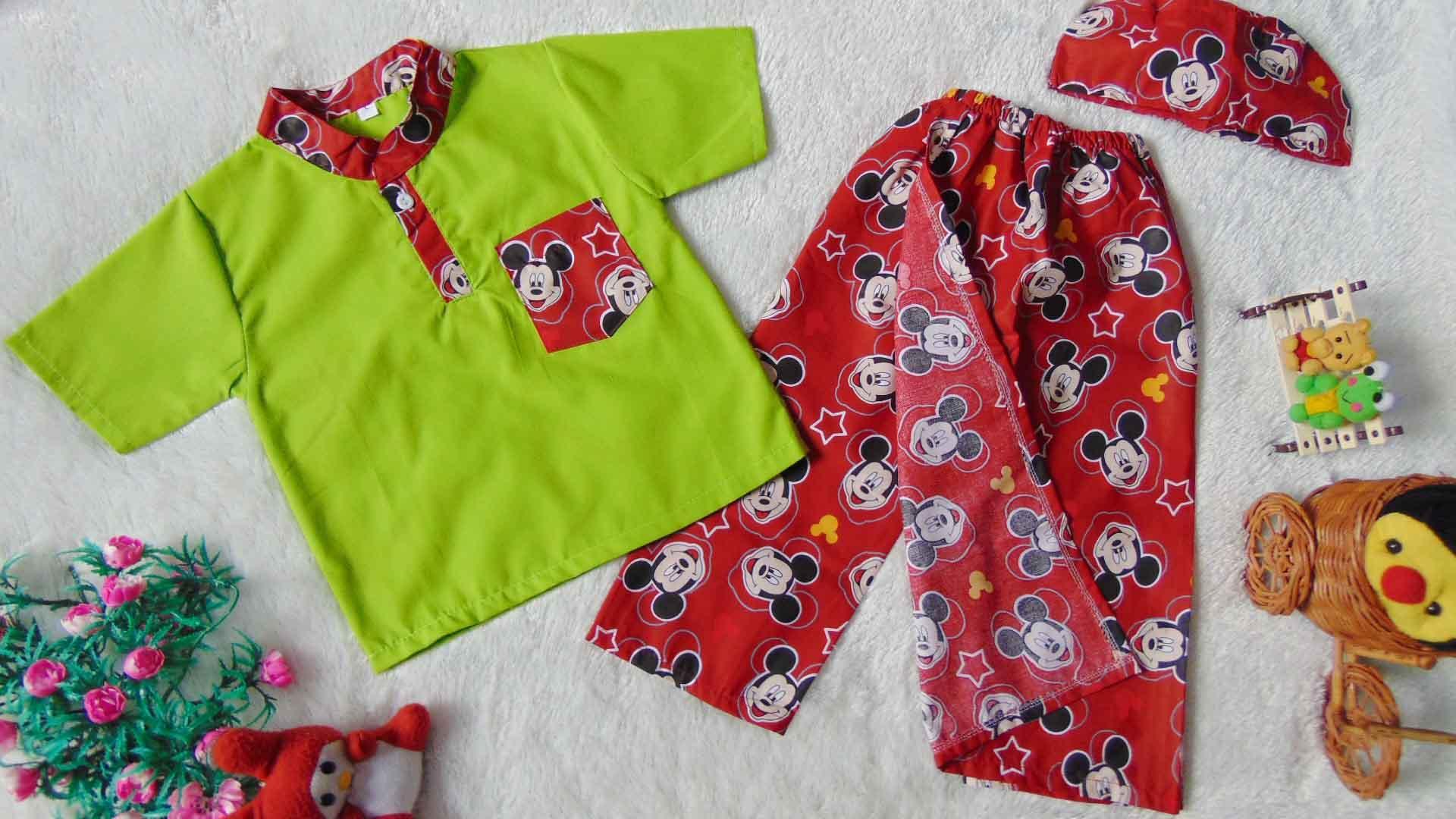 Gambar Produk Rinci kembarshop - baju koko setelan baju muslim sarkoci sarung koko peci anak uk L 2-3th motif random Terkini