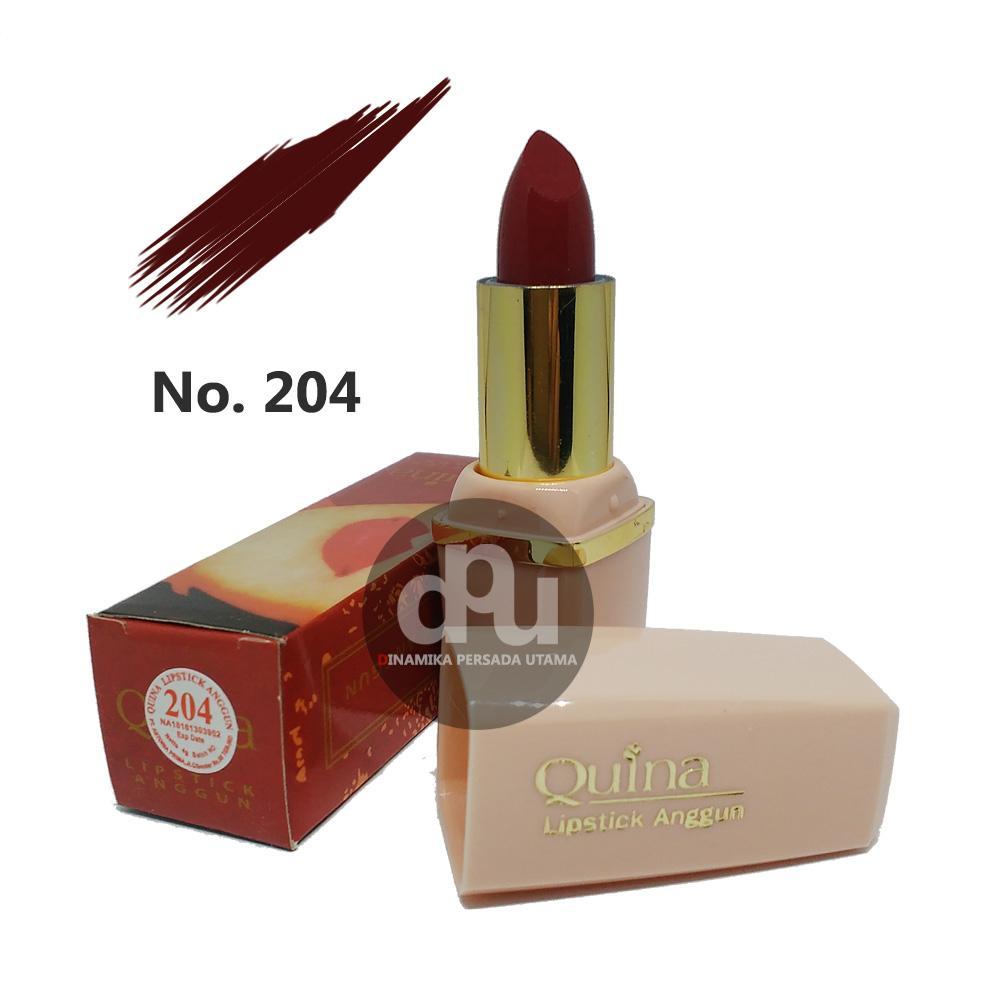Lipstik Anggun QUINA Lipstick Glossy 204  / Makeup Bibir / Lipstik Glossy / Kosmetik / Kecantikan / Perawatan Make up