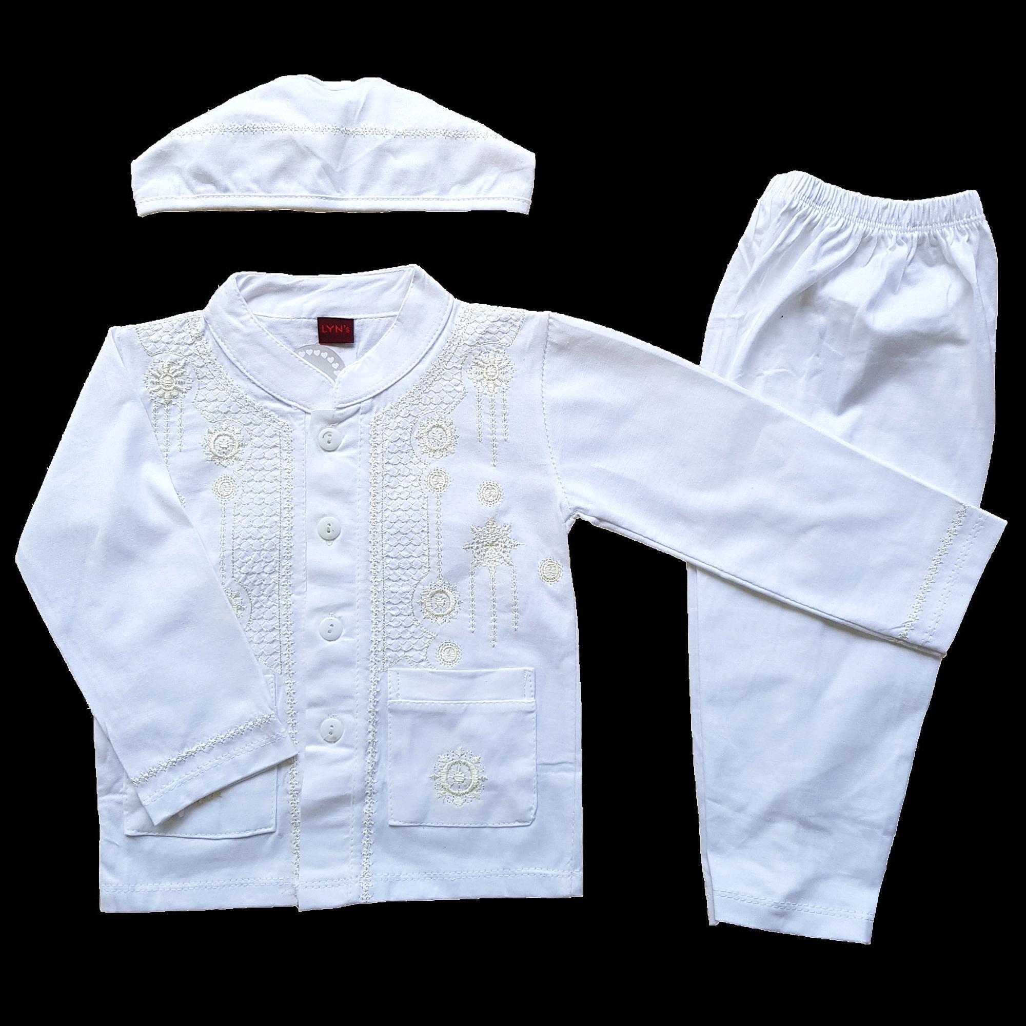 Baju Muslim Koko (6-12 Bulan) Anak Bayi Laki-Laki Setelan Set Peci LY8
