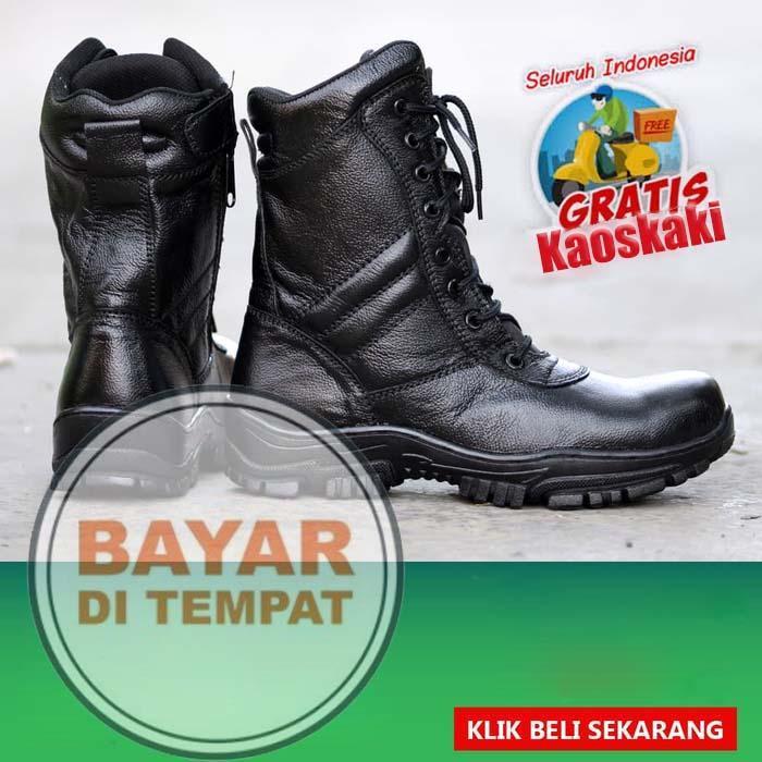 Sepatu Boots PDL TNI POLRI POLISI BOOTS PDL BAHAN KULIT ASLI GRATIS KAOS KAKI (UJUNG BESI)