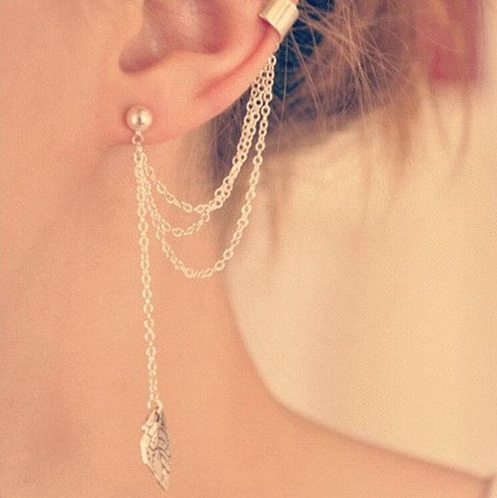 Anting Rumbai Daun / Metal Leaf Tassel Ear Clip Earrings NUZ032
