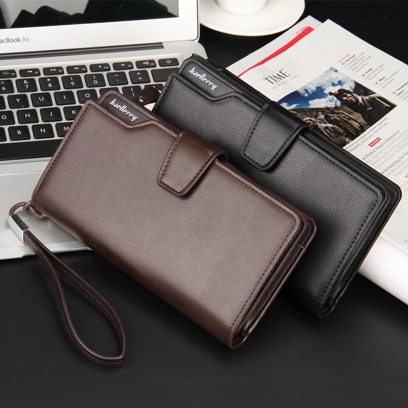 Baellerry - Dompet Kulit Pria Long Man Leather Wallet - Coklat - Hitam - Kulit Asli