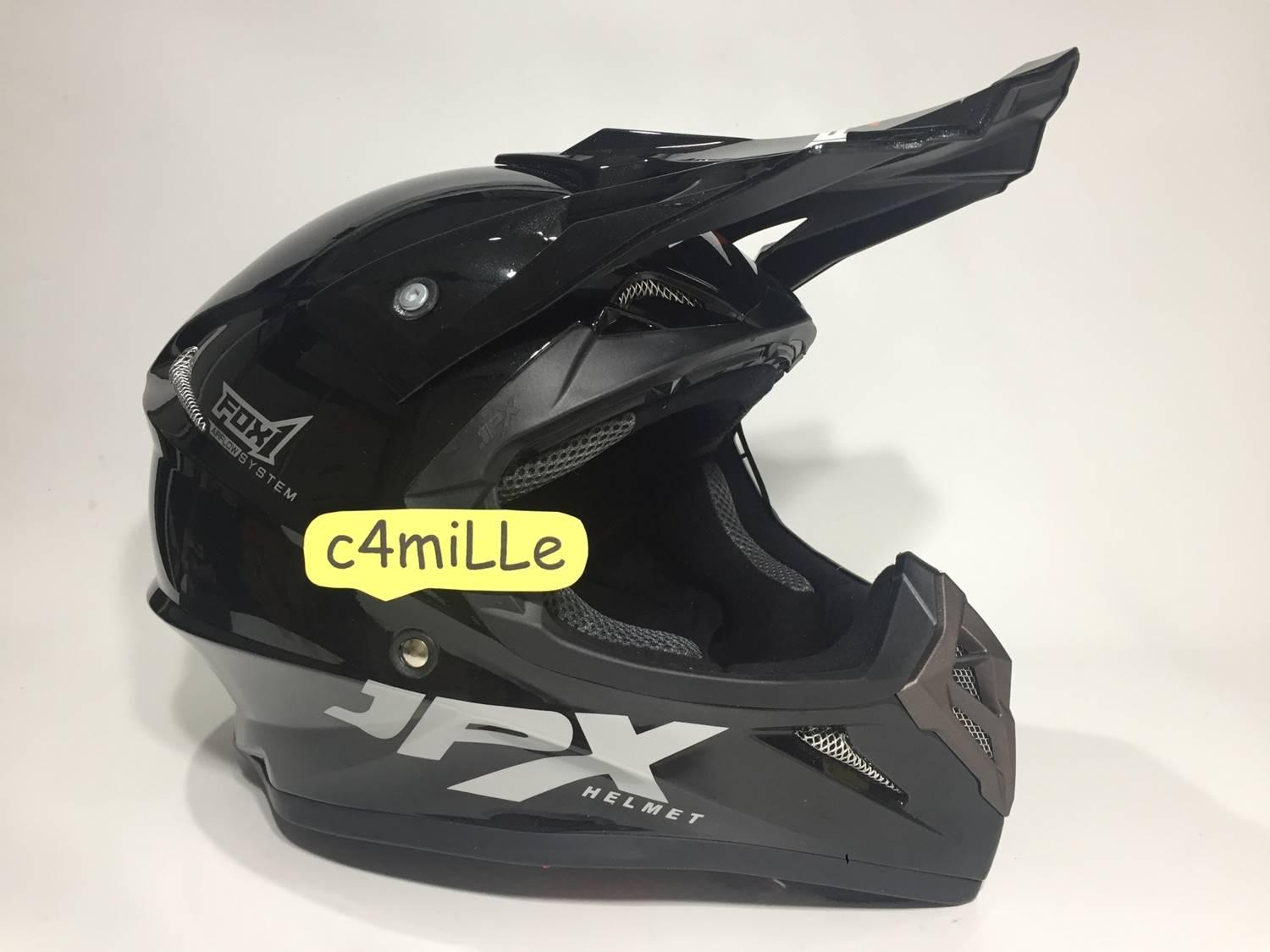 HELM JPX CROSS SOLID BLACK METALIC TRAIL SUPER CROSS