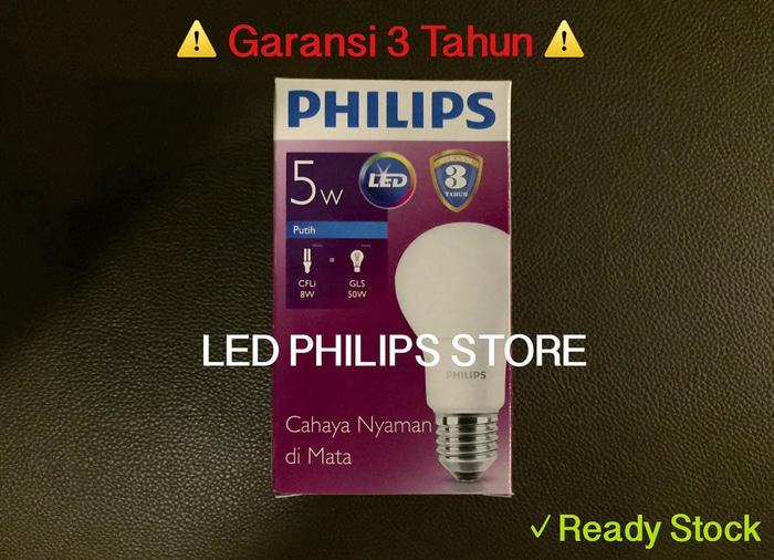 Terbaru!! Lampu Bohlam Led Philips 5 Watt Putihcool Day Light (5W 5 W 5Watt) - ready stock