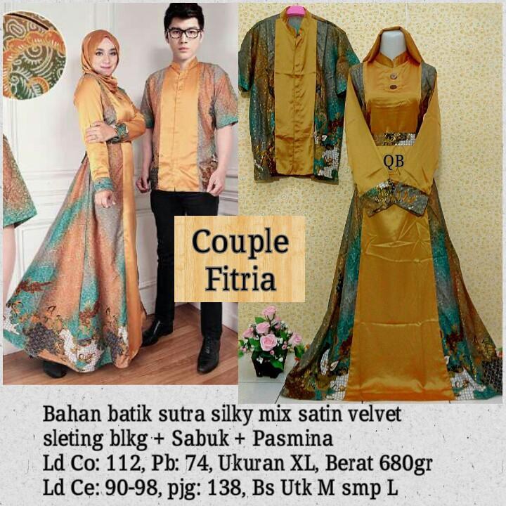 Kebaya Fitria Batik Couple - Baju Pesta Kebaya Batik Couple Kuning