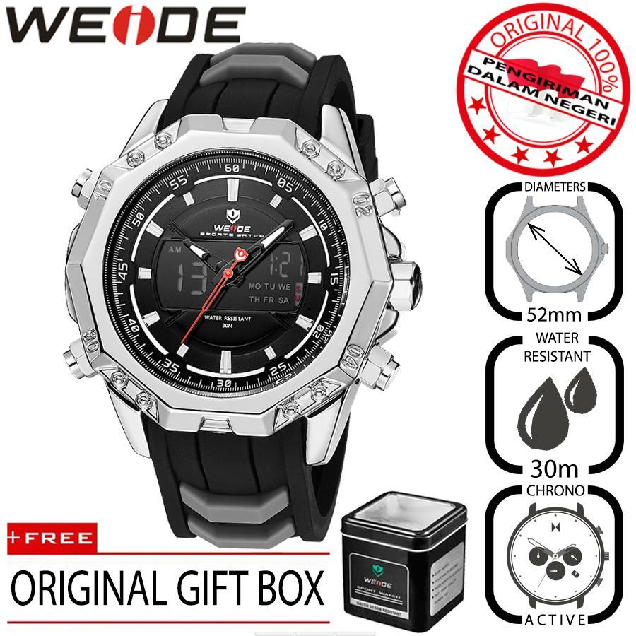 Weide 6406 Jam Tangan Pria Sport Premium Analog Quartz - Digital Silikon PU 52 mm - Anti Air 30 M - Active Chronograph Watches