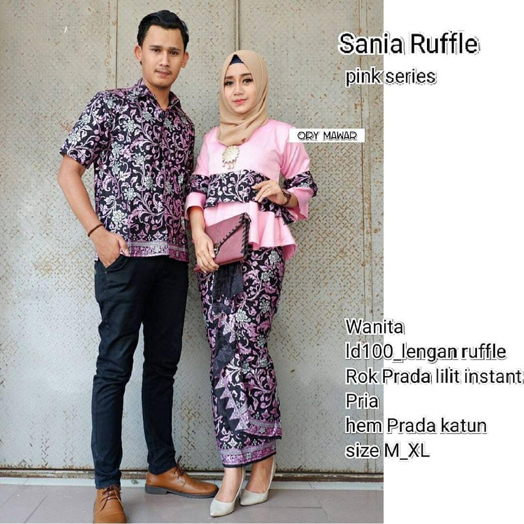 TERMURAH - Batik Couple / Couple Batik / Batik Sarimbit Sania Pink