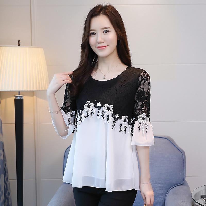 MM Kemeja Sifon Renda Atasan Korea Fashion Style Musim Panas Wanita Musim Panas